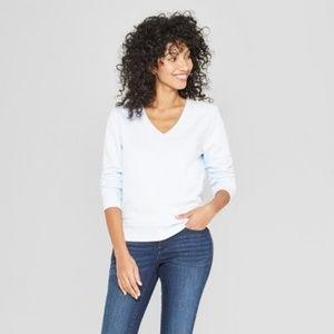 Women's Light Blue Long Sleeve V-Neck Pullover